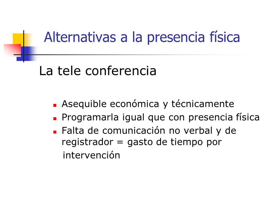 La tele conferencia Asequible económica y técnicamente Programarla igual que con presencia física Falta de comunicación no verbal y de registrador = gasto de tiempo por intervención Alternativas a la presencia física
