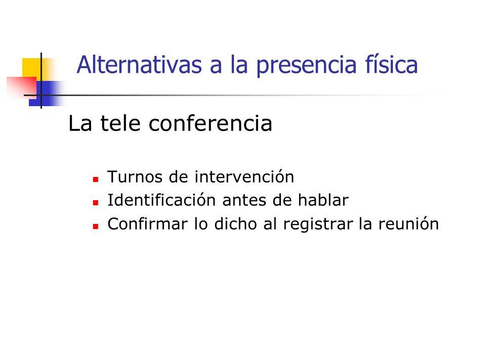 La tele conferencia Turnos de intervención Identificación antes de hablar Confirmar lo dicho al registrar la reunión Alternativas a la presencia física