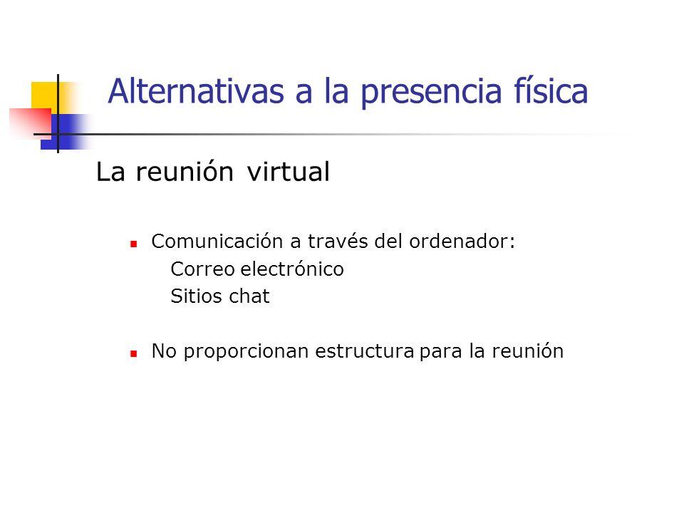 La reunión virtual Comunicación a través del ordenador: Correo electrónico Sitios chat No proporcionan estructura para la reunión Alternativas a la presencia física