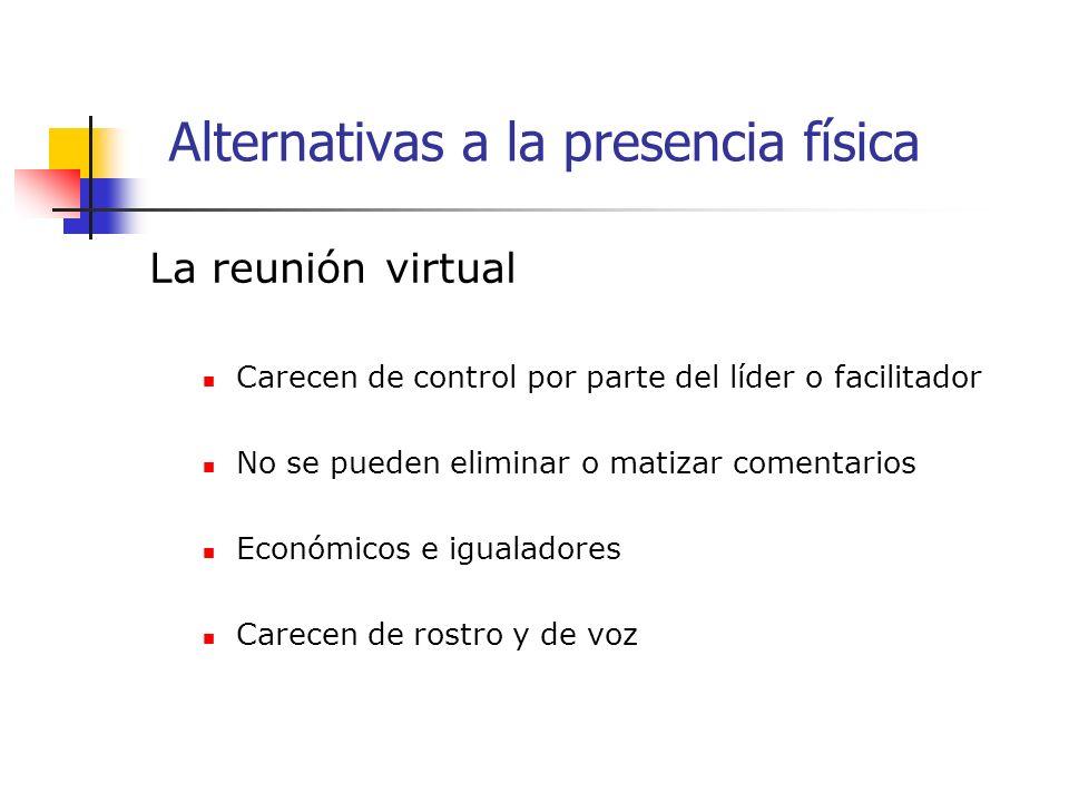 La reunión virtual Carecen de control por parte del líder o facilitador No se pueden eliminar o matizar comentarios Económicos e igualadores Carecen de rostro y de voz Alternativas a la presencia física