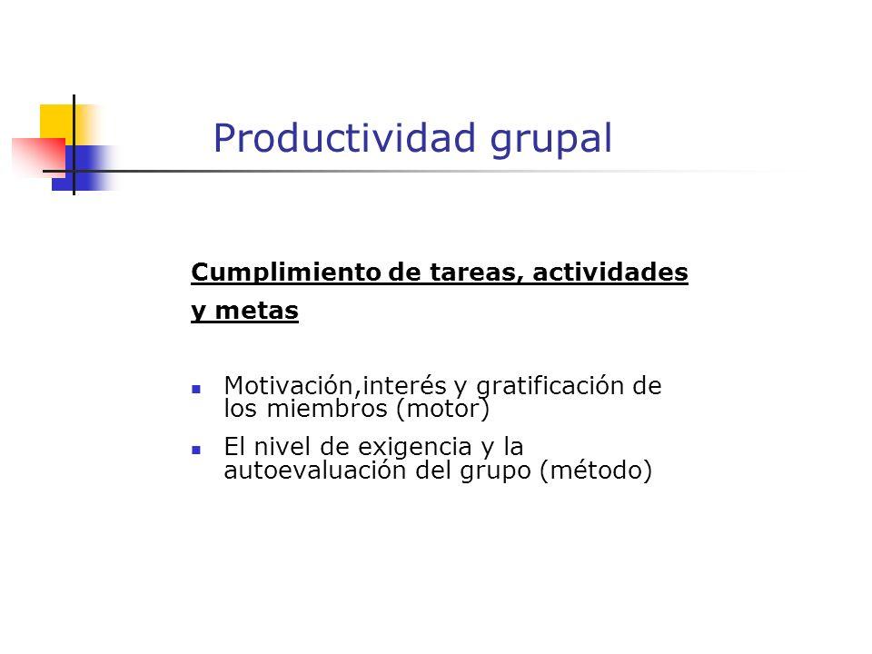 Productividad grupal Cumplimiento de tareas, actividades y metas Motivación,interés y gratificación de los miembros (motor) El nivel de exigencia y la autoevaluación del grupo (método)