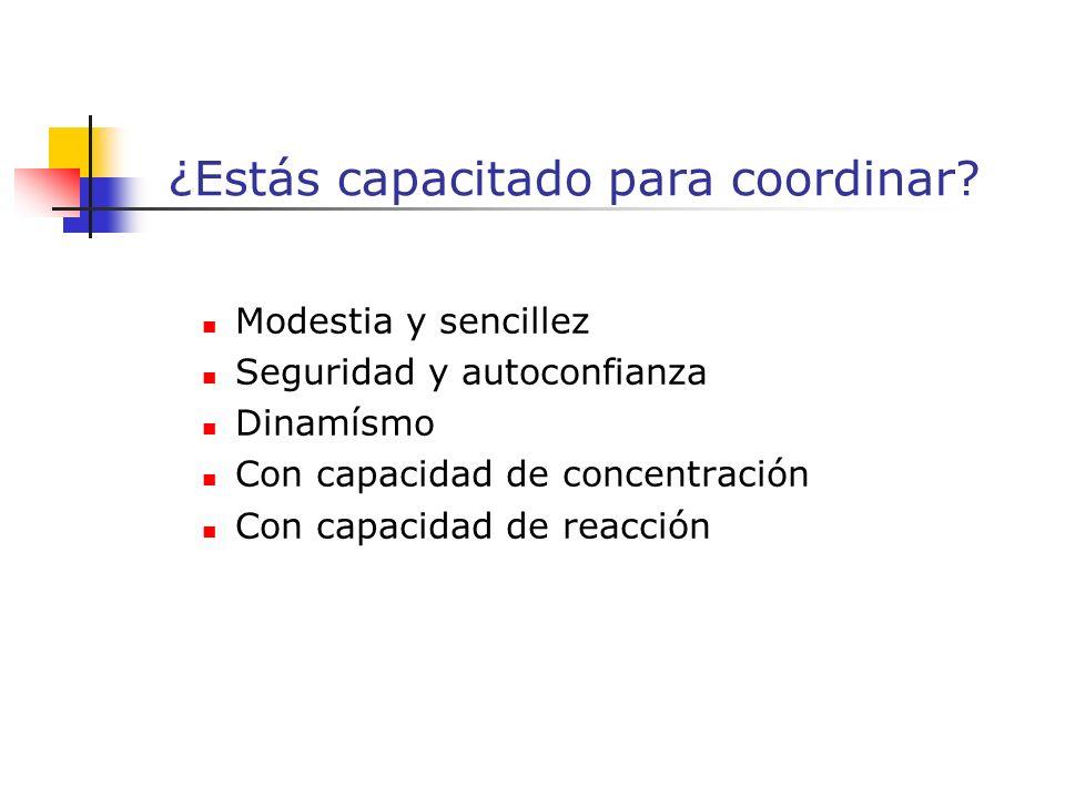 Modestia y sencillez Seguridad y autoconfianza Dinamísmo Con capacidad de concentración Con capacidad de reacción ¿Estás capacitado para coordinar