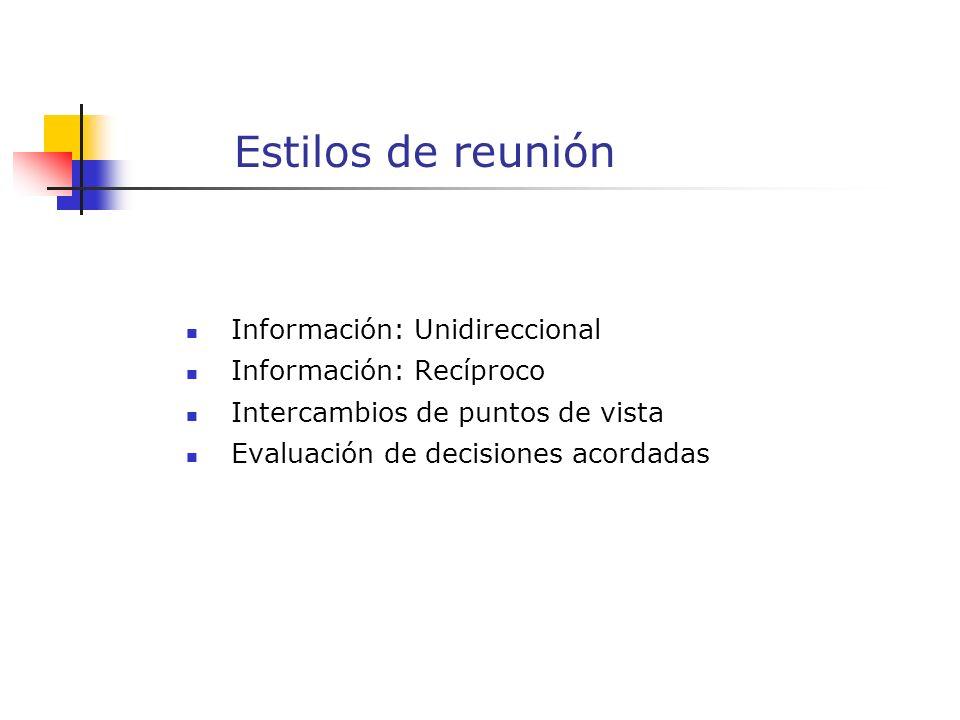 Estilos de reunión Información: Unidireccional Información: Recíproco Intercambios de puntos de vista Evaluación de decisiones acordadas
