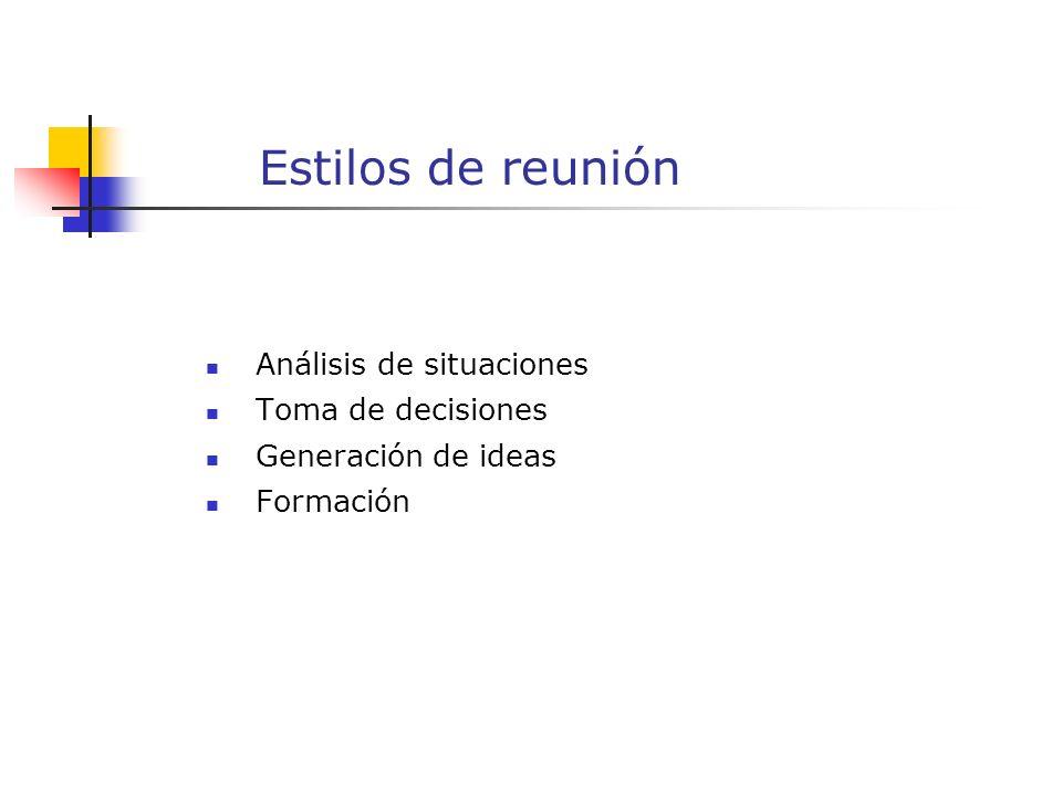 Estilos de reunión Análisis de situaciones Toma de decisiones Generación de ideas Formación