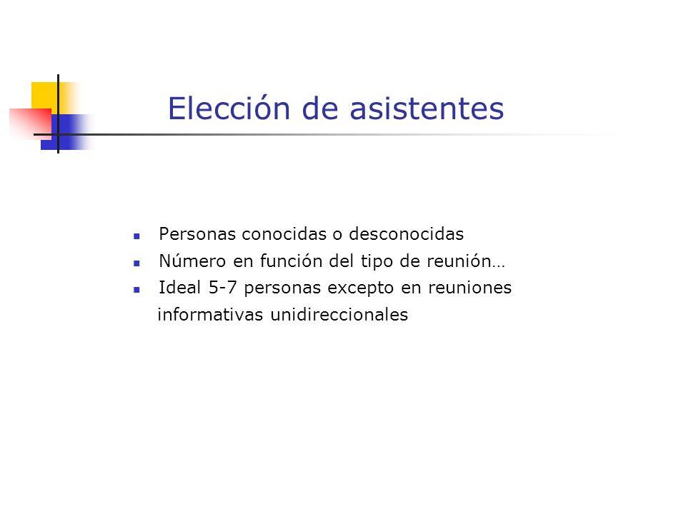 Elección de asistentes Personas conocidas o desconocidas Número en función del tipo de reunión… Ideal 5-7 personas excepto en reuniones informativas unidireccionales