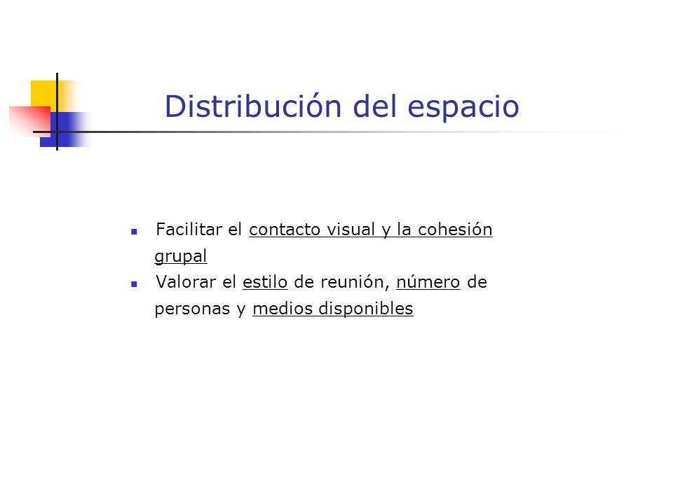 Distribución del espacio Facilitar el contacto visual y la cohesión grupal Valorar el estilo de reunión, número de personas y medios disponibles