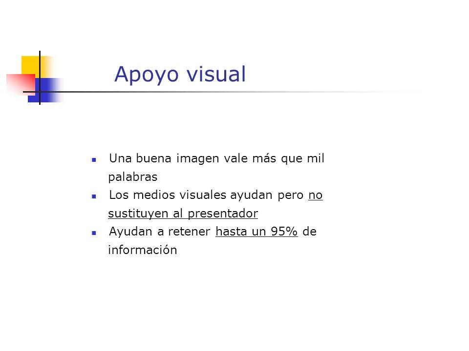 Apoyo visual Una buena imagen vale más que mil palabras Los medios visuales ayudan pero no sustituyen al presentador Ayudan a retener hasta un 95% de información