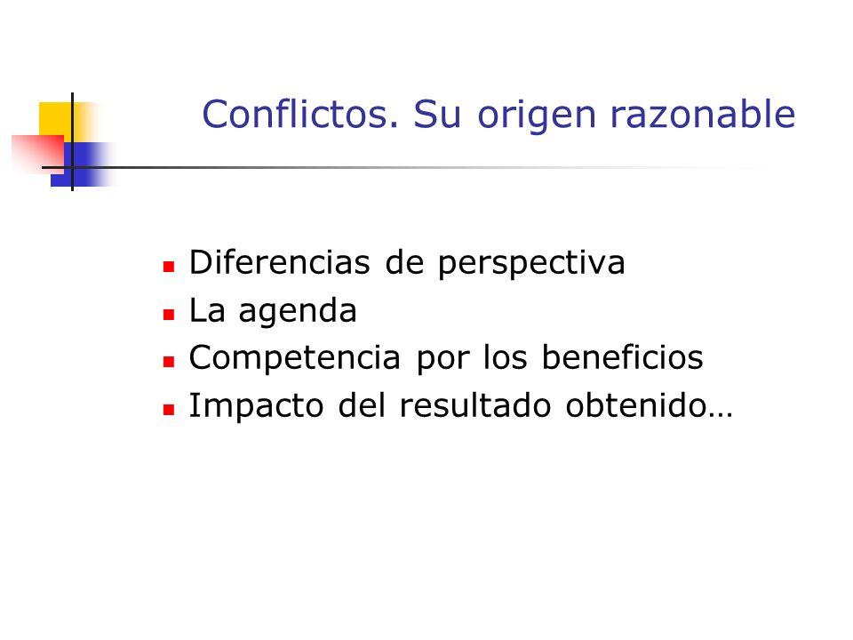 Diferencias de perspectiva La agenda Competencia por los beneficios Impacto del resultado obtenido… Conflictos.