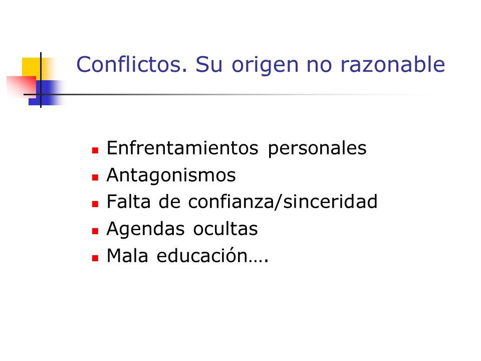 Enfrentamientos personales Antagonismos Falta de confianza/sinceridad Agendas ocultas Mala educación….