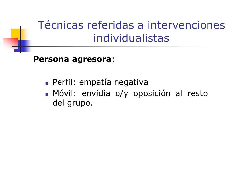 Persona agresora: Perfil: empatía negativa Móvil: envidia o/y oposición al resto del grupo.