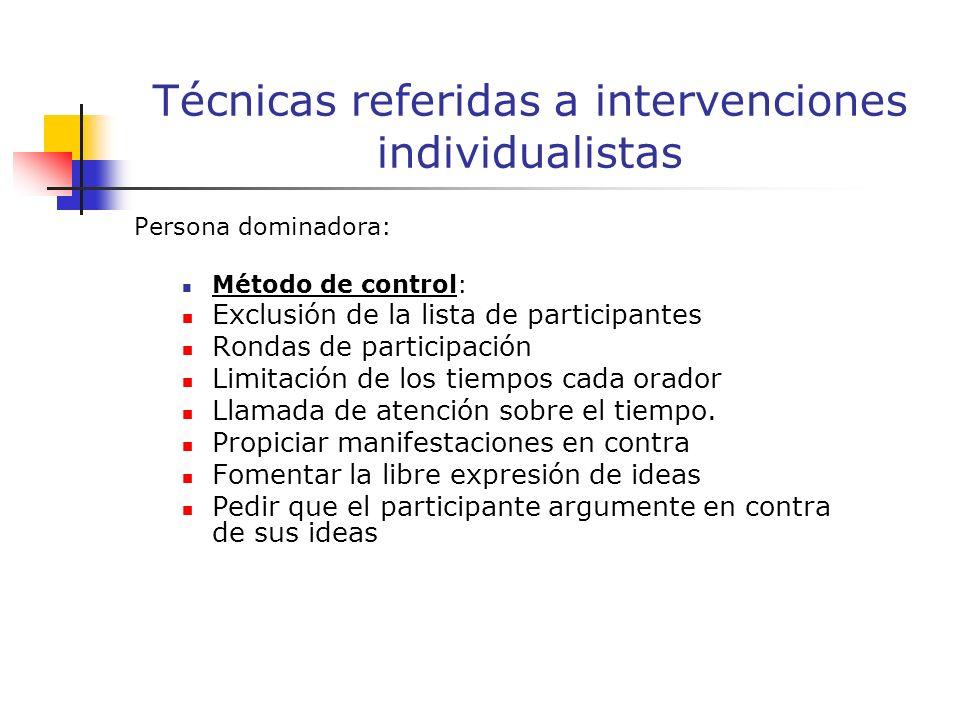 Persona dominadora: Método de control: Exclusión de la lista de participantes Rondas de participación Limitación de los tiempos cada orador Llamada de atención sobre el tiempo.