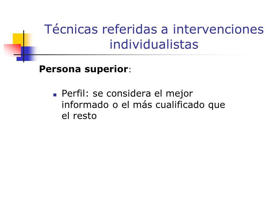 Persona superior : Perfil: se considera el mejor informado o el más cualificado que el resto Técnicas referidas a intervenciones individualistas