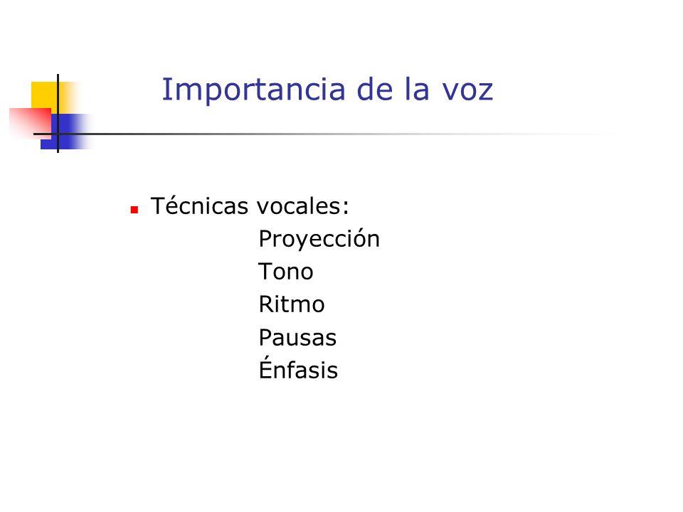 Técnicas vocales: Proyección Tono Ritmo Pausas Énfasis Importancia de la voz