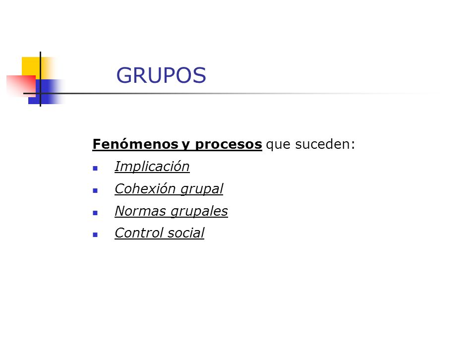 GRUPOS Fenómenos y procesos que suceden: Tamaño del grupo Roles grupales Atmósfera grupal Ajuste/integración en el grupo
