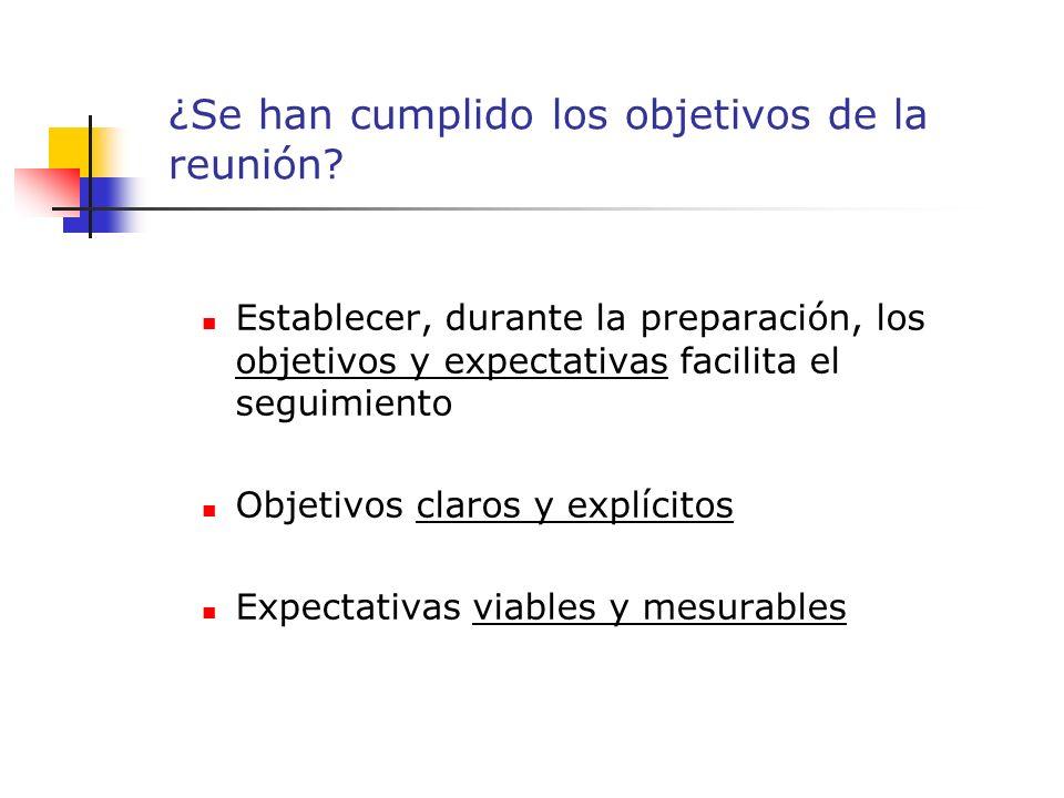Establecer, durante la preparación, los objetivos y expectativas facilita el seguimiento Objetivos claros y explícitos Expectativas viables y mesurables ¿Se han cumplido los objetivos de la reunión