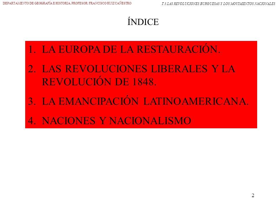 2 DEPARTAMENTO DE GEOGRAFÍA E HISTORIA. PROFESOR: FRANCISCO RUIZ CAÑESTRO T.3.LAS REVOLUCIONES BURGUESAS Y LOS MOVIMIENTOS NACIONALES ÍNDICE 1.LA EURO