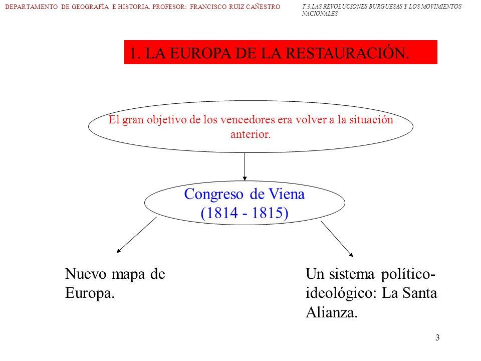 3 DEPARTAMENTO DE GEOGRAFÍA E HISTORIA. PROFESOR: FRANCISCO RUIZ CAÑESTRO 1. LA EUROPA DE LA RESTAURACIÓN. El gran objetivo de los vencedores era volv