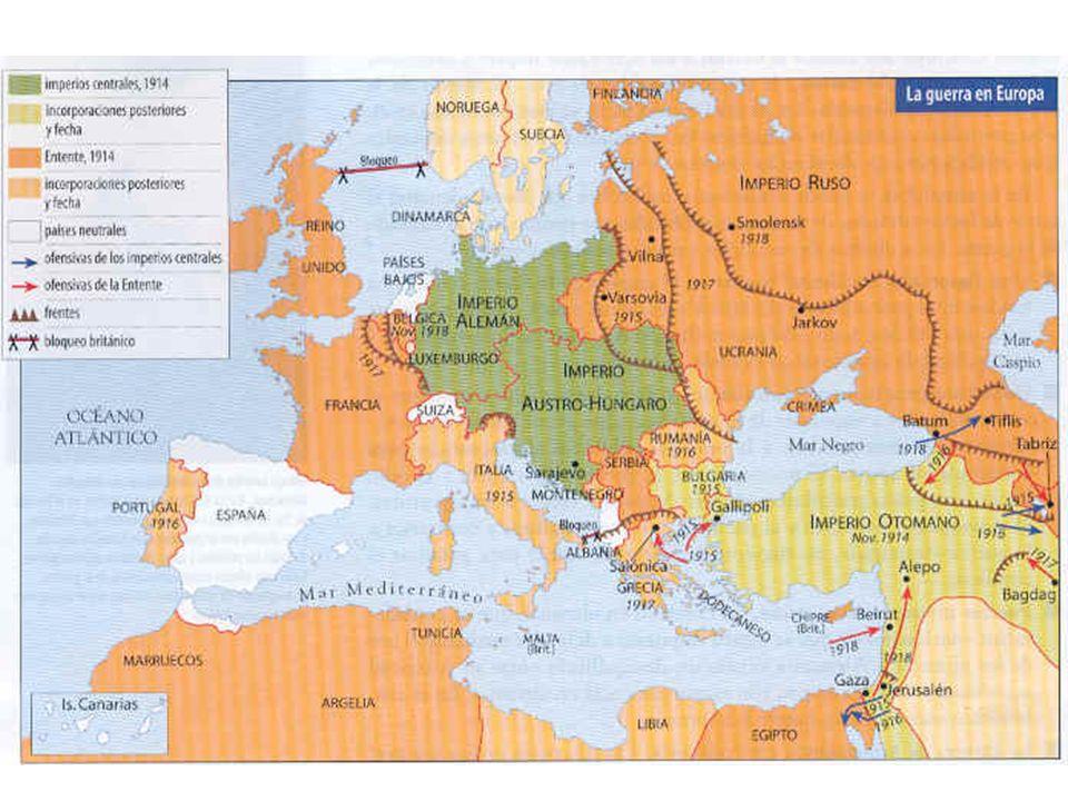 Frente Occidental Plan Schlieffen-Ataque Alemán contra Francia a través de Bélgica. Francia repele el ataque en Marne, al mando de Joffre (Noviembre d