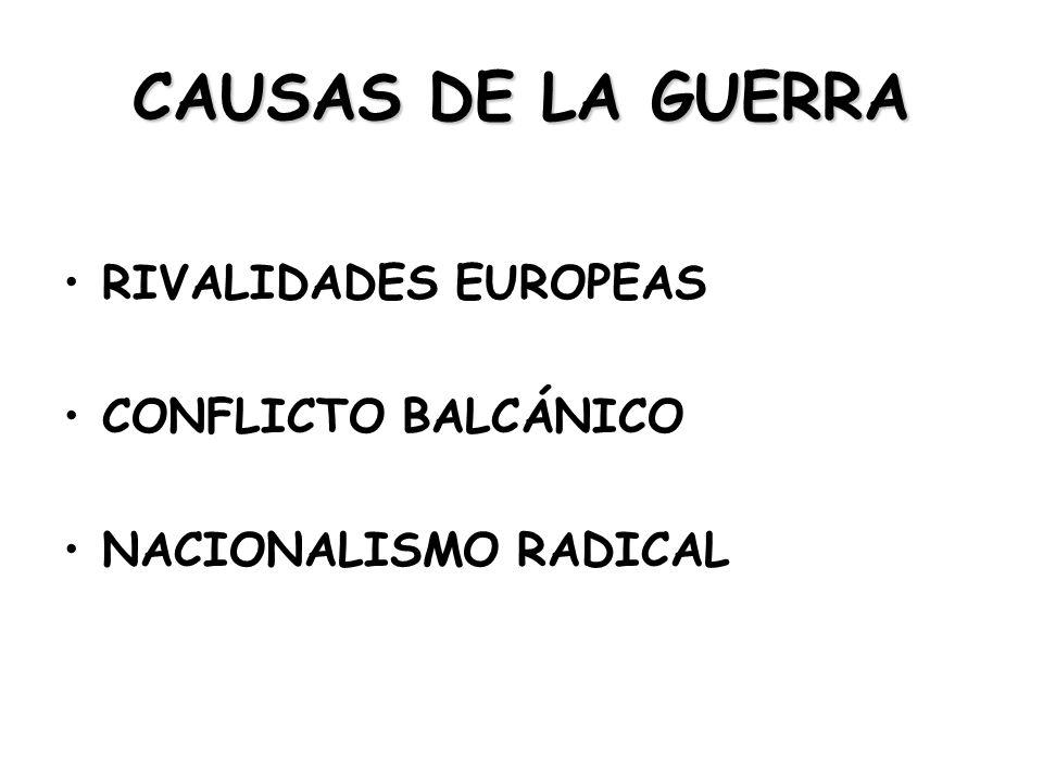 CAUSAS DE LA GUERRA RIVALIDADES EUROPEAS CONFLICTO BALCÁNICO NACIONALISMO RADICAL