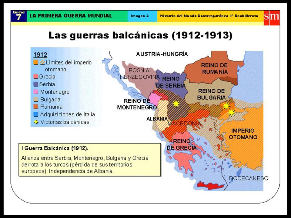 CONFLICTO BALCÁNICO Primera Guerra Balcánica entre la Liga y el Imp. Otomano. Duró tres meses y acabó con la derrota turca. La Liga amplió sus fronter