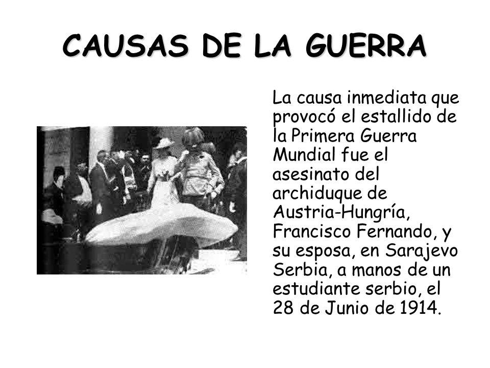 CAUSAS DE LA GUERRA La causa inmediata que provocó el estallido de la Primera Guerra Mundial fue el asesinato del archiduque de Austria-Hungría, Francisco Fernando, y su esposa, en Sarajevo Serbia, a manos de un estudiante serbio, el 28 de Junio de 1914.