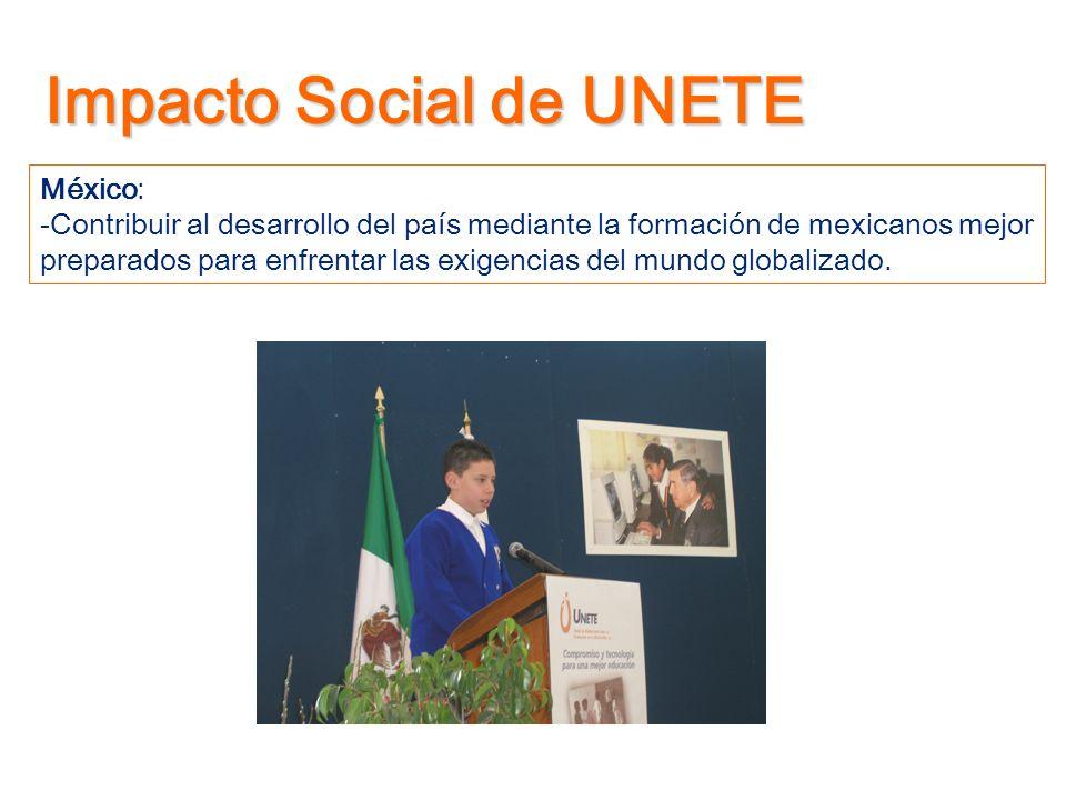 Impacto Social de UNETE México: -Contribuir al desarrollo del país mediante la formación de mexicanos mejor preparados para enfrentar las exigencias d