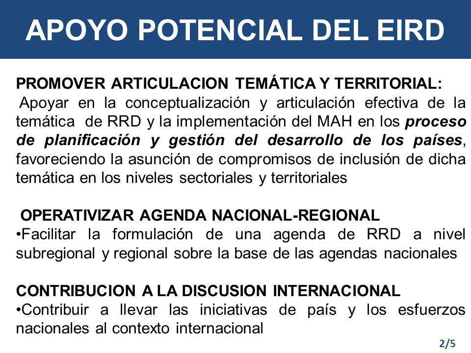 APOYO POTENCIAL DEL EIRD PROMOVER ARTICULACION TEMÁTICA Y TERRITORIAL: Apoyar en la conceptualización y articulación efectiva de la temática de RRD y la implementación del MAH en los proceso de planificación y gestión del desarrollo de los países, favoreciendo la asunción de compromisos de inclusión de dicha temática en los niveles sectoriales y territoriales OPERATIVIZAR AGENDA NACIONAL-REGIONAL Facilitar la formulación de una agenda de RRD a nivel subregional y regional sobre la base de las agendas nacionales CONTRIBUCION A LA DISCUSION INTERNACIONAL Contribuir a llevar las iniciativas de país y los esfuerzos nacionales al contexto internacional 2/5