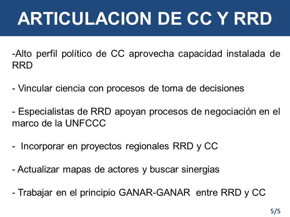 ARTICULACION DE CC Y RRD -Alto perfil político de CC aprovecha capacidad instalada de RRD - Vincular ciencia con procesos de toma de decisiones - Especialistas de RRD apoyan procesos de negociación en el marco de la UNFCCC - Incorporar en proyectos regionales RRD y CC - Actualizar mapas de actores y buscar sinergias - Trabajar en el principio GANAR-GANAR entre RRD y CC 5/5