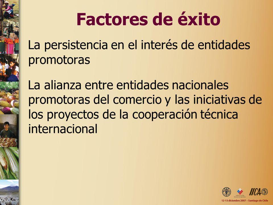 Factores de éxito La persistencia en el interés de entidades promotoras La alianza entre entidades nacionales promotoras del comercio y las iniciativa