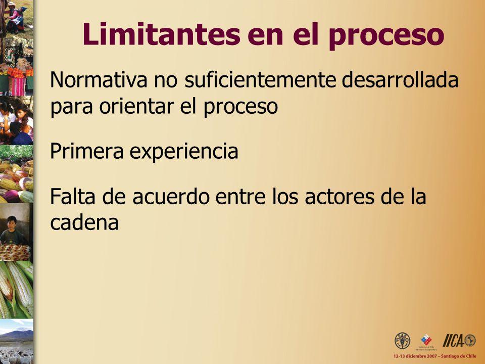 Limitantes en el proceso Normativa no suficientemente desarrollada para orientar el proceso Primera experiencia Falta de acuerdo entre los actores de