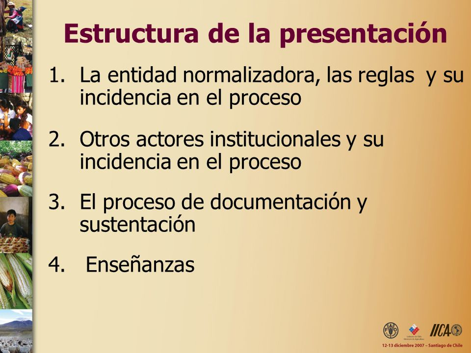 Estructura de la presentación 1.La entidad normalizadora, las reglas y su incidencia en el proceso 2.Otros actores institucionales y su incidencia en