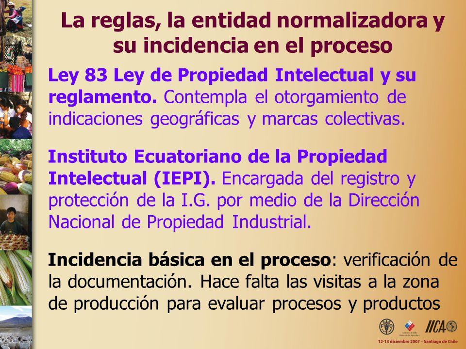 La reglas, la entidad normalizadora y su incidencia en el proceso Ley 83 Ley de Propiedad Intelectual y su reglamento. Contempla el otorgamiento de in