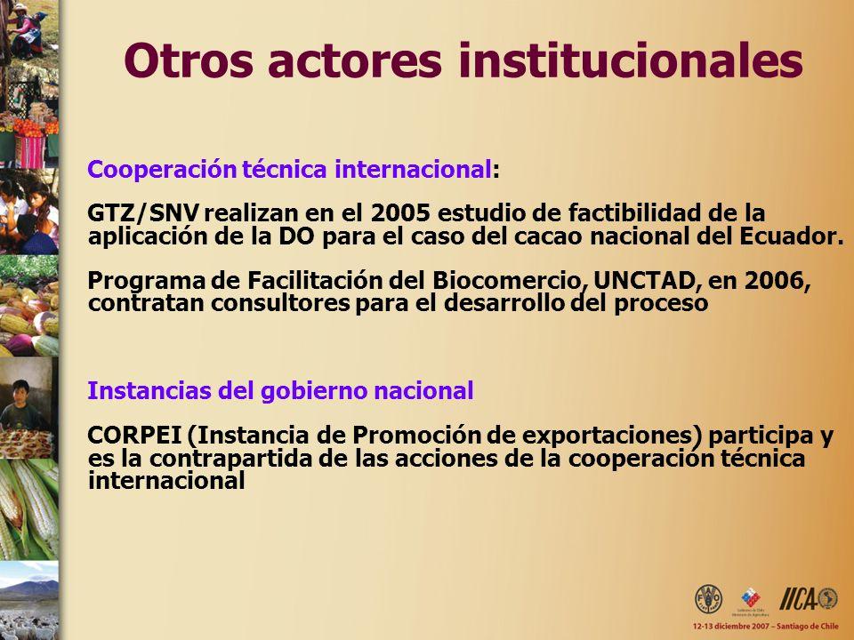 Otros actores institucionales Cooperación técnica internacional: GTZ/SNV realizan en el 2005 estudio de factibilidad de la aplicación de la DO para el