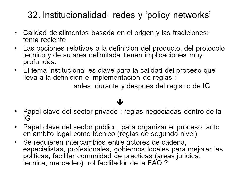 32. Institucionalidad: redes y policy networks Calidad de alimentos basada en el origen y las tradiciones: tema reciente Las opciones relativas a la d