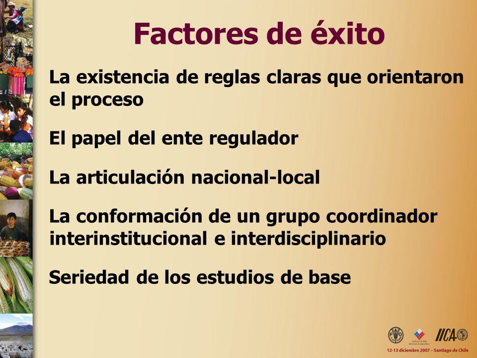 Factores de éxito La existencia de reglas claras que orientaron el proceso El papel del ente regulador La articulación nacional-local La conformación de un grupo coordinador interinstitucional e interdisciplinario Seriedad de los estudios de base