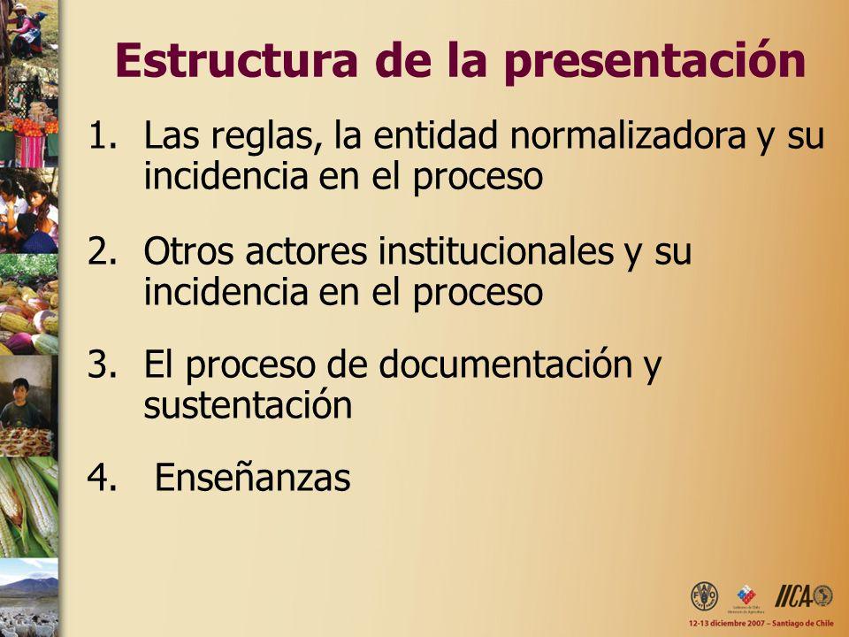 Estructura de la presentación 1.Las reglas, la entidad normalizadora y su incidencia en el proceso 2.Otros actores institucionales y su incidencia en el proceso 3.El proceso de documentación y sustentación 4.