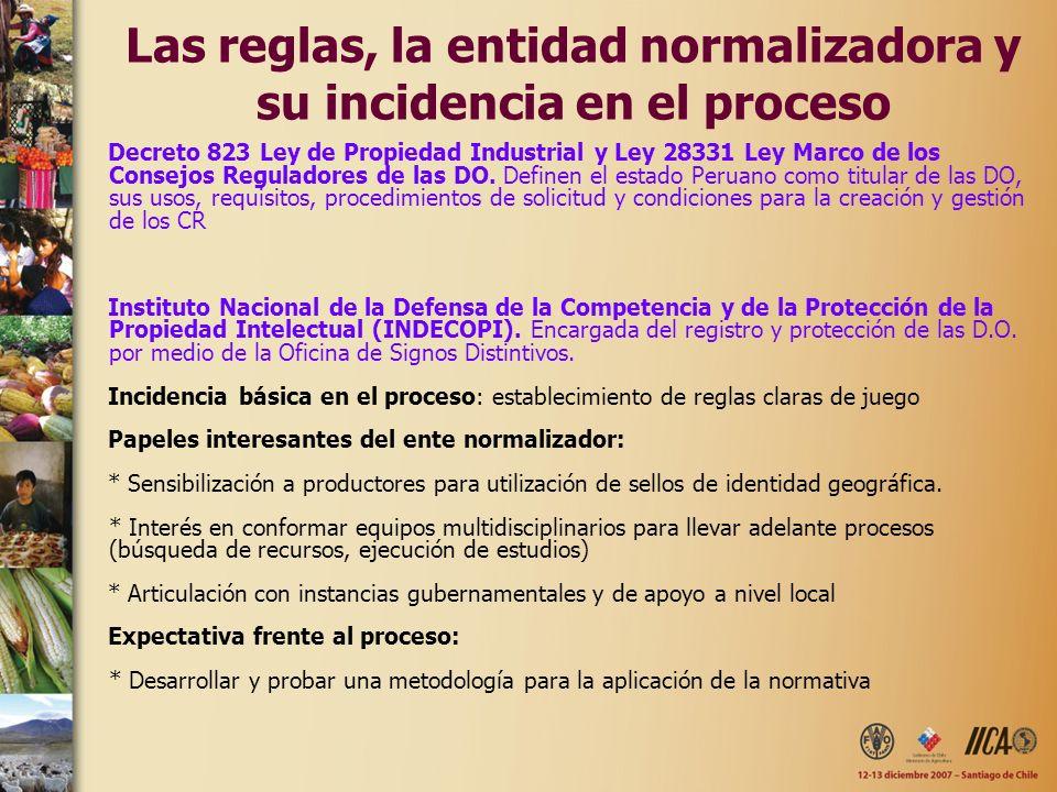 Las reglas, la entidad normalizadora y su incidencia en el proceso Decreto 823 Ley de Propiedad Industrial y Ley 28331 Ley Marco de los Consejos Reguladores de las DO.