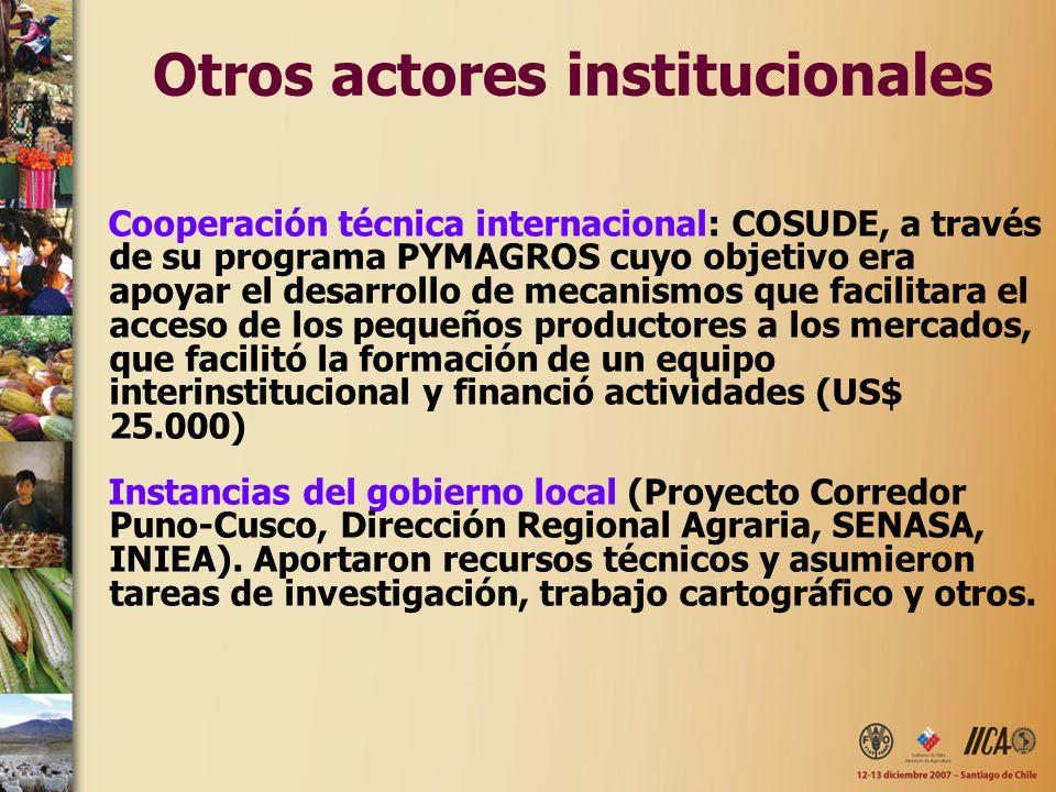 Otros actores institucionales Cooperación técnica internacional: COSUDE, a través de su programa PYMAGROS cuyo objetivo era apoyar el desarrollo de mecanismos que facilitara el acceso de los pequeños productores a los mercados, que facilitó la formación de un equipo interinstitucional y financió actividades (US$ 25.000) Instancias del gobierno local (Proyecto Corredor Puno-Cusco, Dirección Regional Agraria, SENASA, INIEA).