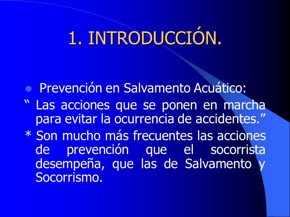 1. INTRODUCCIÓN. Prevención en Salvamento Acuático: Las acciones que se ponen en marcha para evitar la ocurrencia de accidentes. * Son mucho más frecu