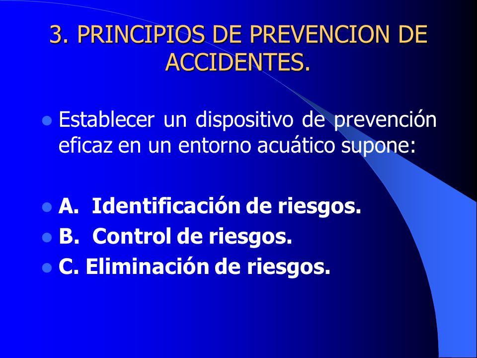 3. PRINCIPIOS DE PREVENCION DE ACCIDENTES. Establecer un dispositivo de prevención eficaz en un entorno acuático supone: A. Identificación de riesgos.