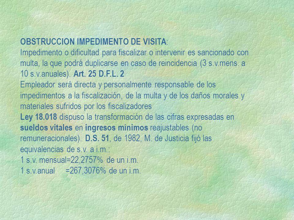 OBSTRUCCION IMPEDIMENTO DE VISITA : Impedimento o dificultad para fiscalizar o intervenir es sancionado con multa, la que podrá duplicarse en caso de