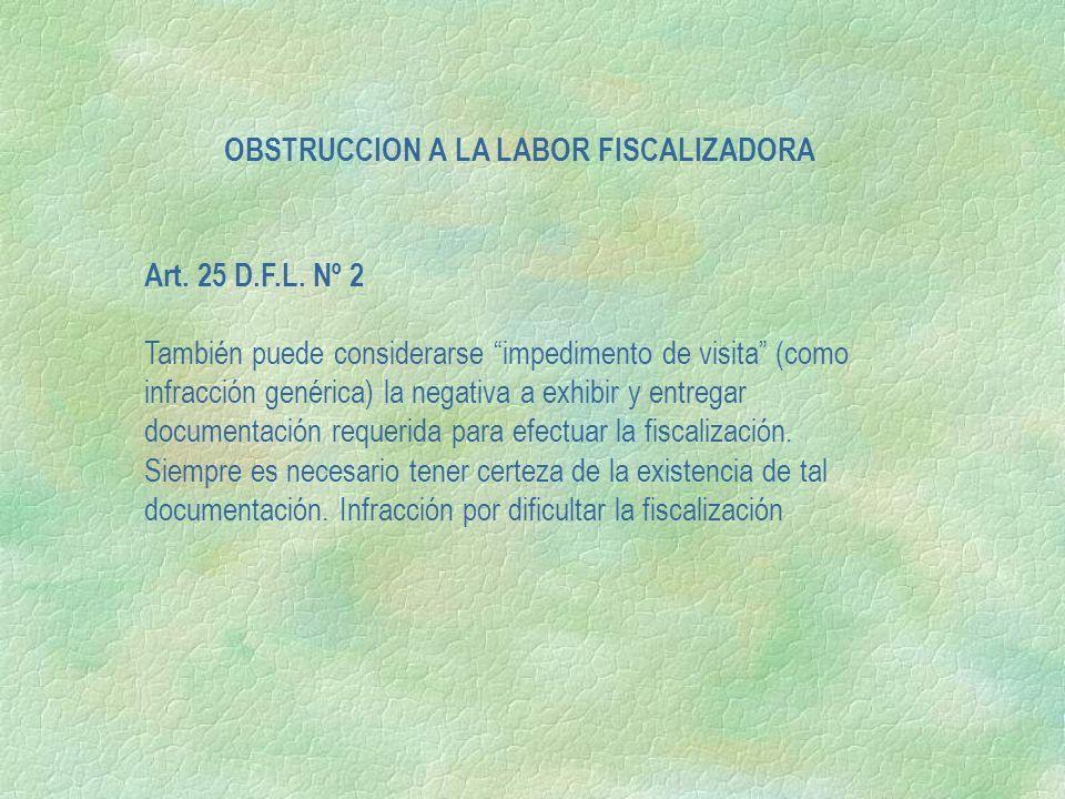 Art. 25 D.F.L. Nº 2 También puede considerarse impedimento de visita (como infracción genérica) la negativa a exhibir y entregar documentación requeri