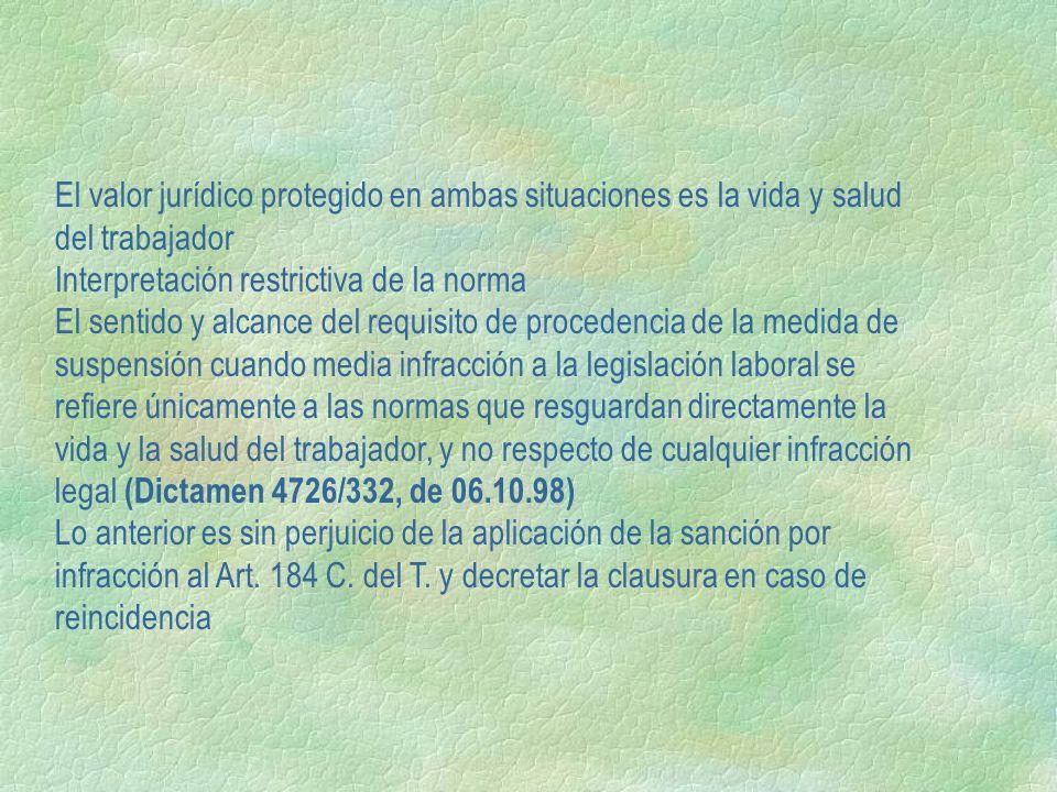 El valor jurídico protegido en ambas situaciones es la vida y salud del trabajador Interpretación restrictiva de la norma El sentido y alcance del req