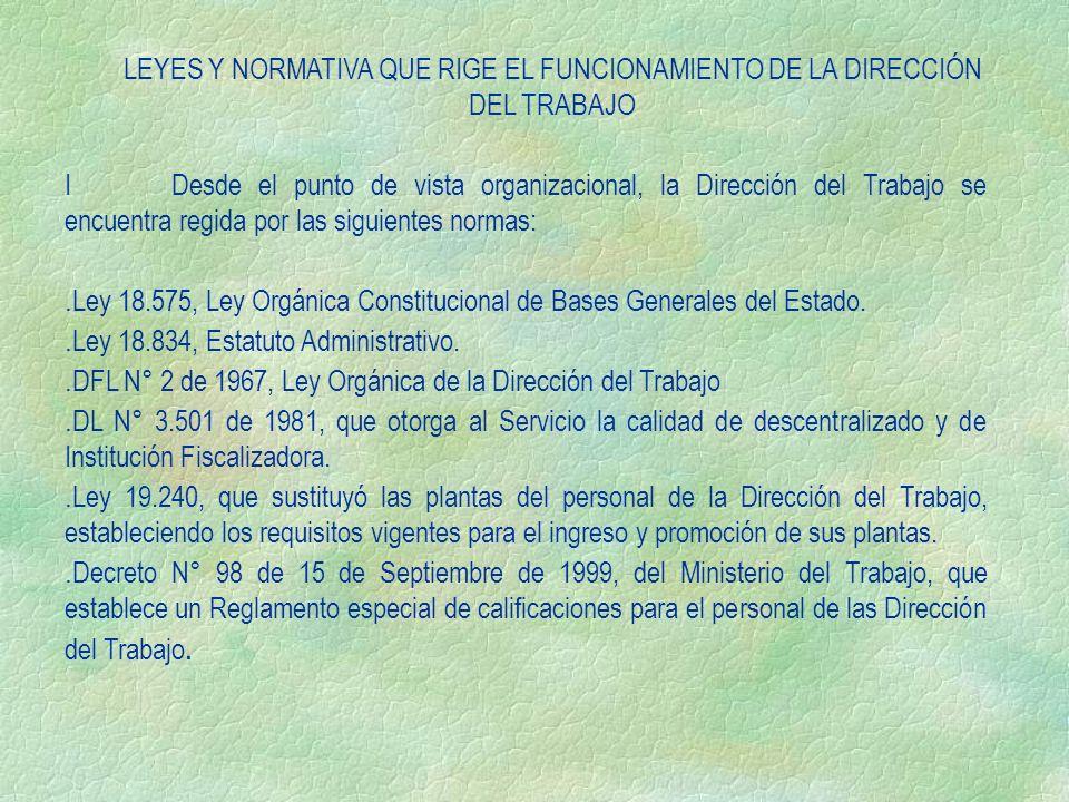 LEYES Y NORMATIVA QUE RIGE EL FUNCIONAMIENTO DE LA DIRECCIÓN DEL TRABAJO IDesde el punto de vista organizacional, la Dirección del Trabajo se encuentr