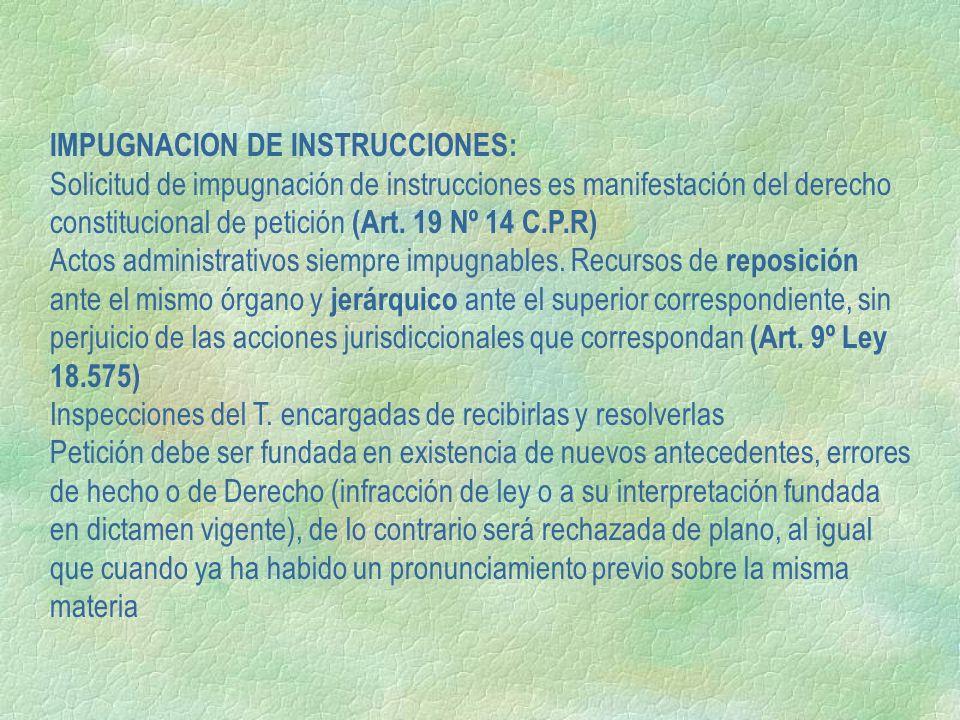 IMPUGNACION DE INSTRUCCIONES: Solicitud de impugnación de instrucciones es manifestación del derecho constitucional de petición (Art. 19 Nº 14 C.P.R)