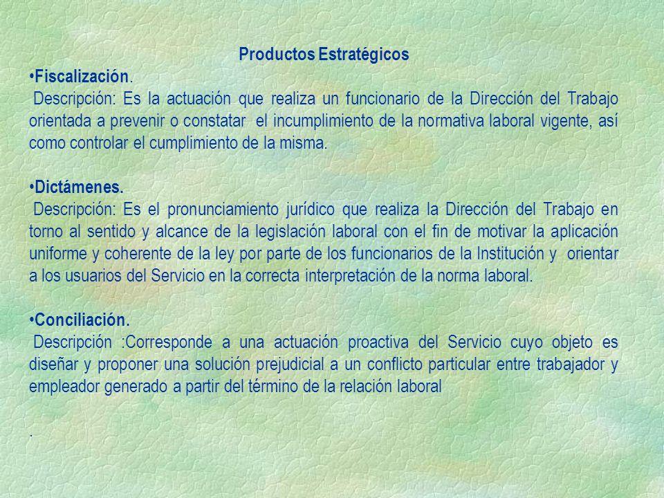 Productos Estratégicos Fiscalización. Descripción: Es la actuación que realiza un funcionario de la Dirección del Trabajo orientada a prevenir o const
