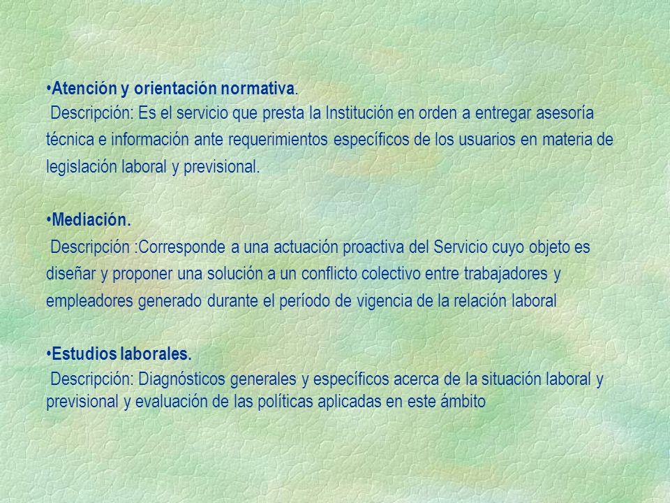Atención y orientación normativa. Descripción: Es el servicio que presta la Institución en orden a entregar asesoría técnica e información ante requer