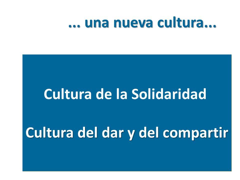 Cultura de la Solidaridad Cultura del dar y del compartir Cultura de la Solidaridad Cultura del dar y del compartir... una nueva cultura...