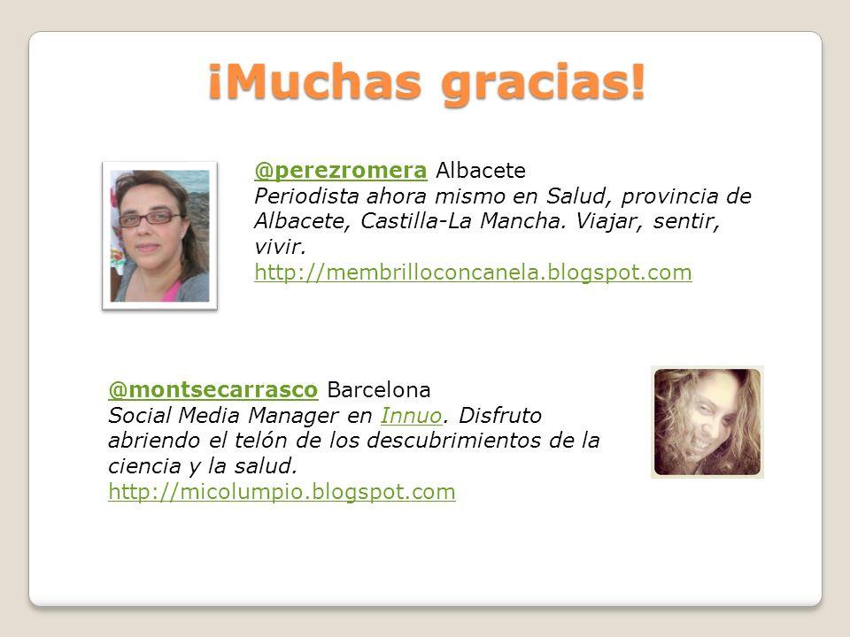 ¡Muchas gracias! @perezromera@perezromera Albacete Periodista ahora mismo en Salud, provincia de Albacete, Castilla-La Mancha. Viajar, sentir, vivir.
