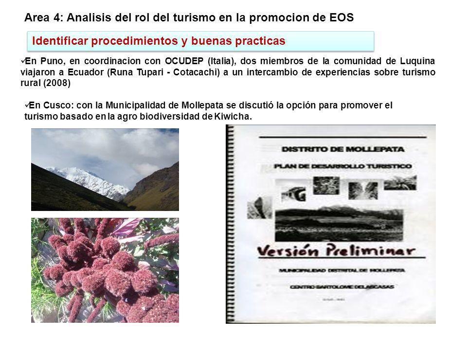 Idenficar las caracteristicas de calidad en bancos de genes Area 5: Mejorar la disponibilidad, conocimiento y conservacion de EOS En Cusco: 142 acceciones del banco de germoplasma de kiwicha fue refrescado